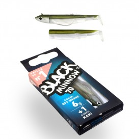 LEURRE SOUPLE COMBO BLACK MINNOW 70 + TETE PLOMBEE OFF SHORE