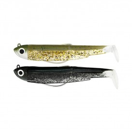 LEURRE SOUPLE DOUBLE COMBO BLACK MINNOW 90 + TETE PLOMBEE SHORE